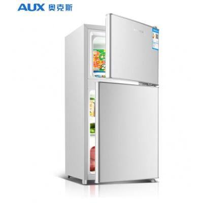奥克斯(AUX)家用102升小型冰箱双门式冷冻冷藏两门小冰箱宿舍用迷你节能电冰箱BCD-102拉丝银